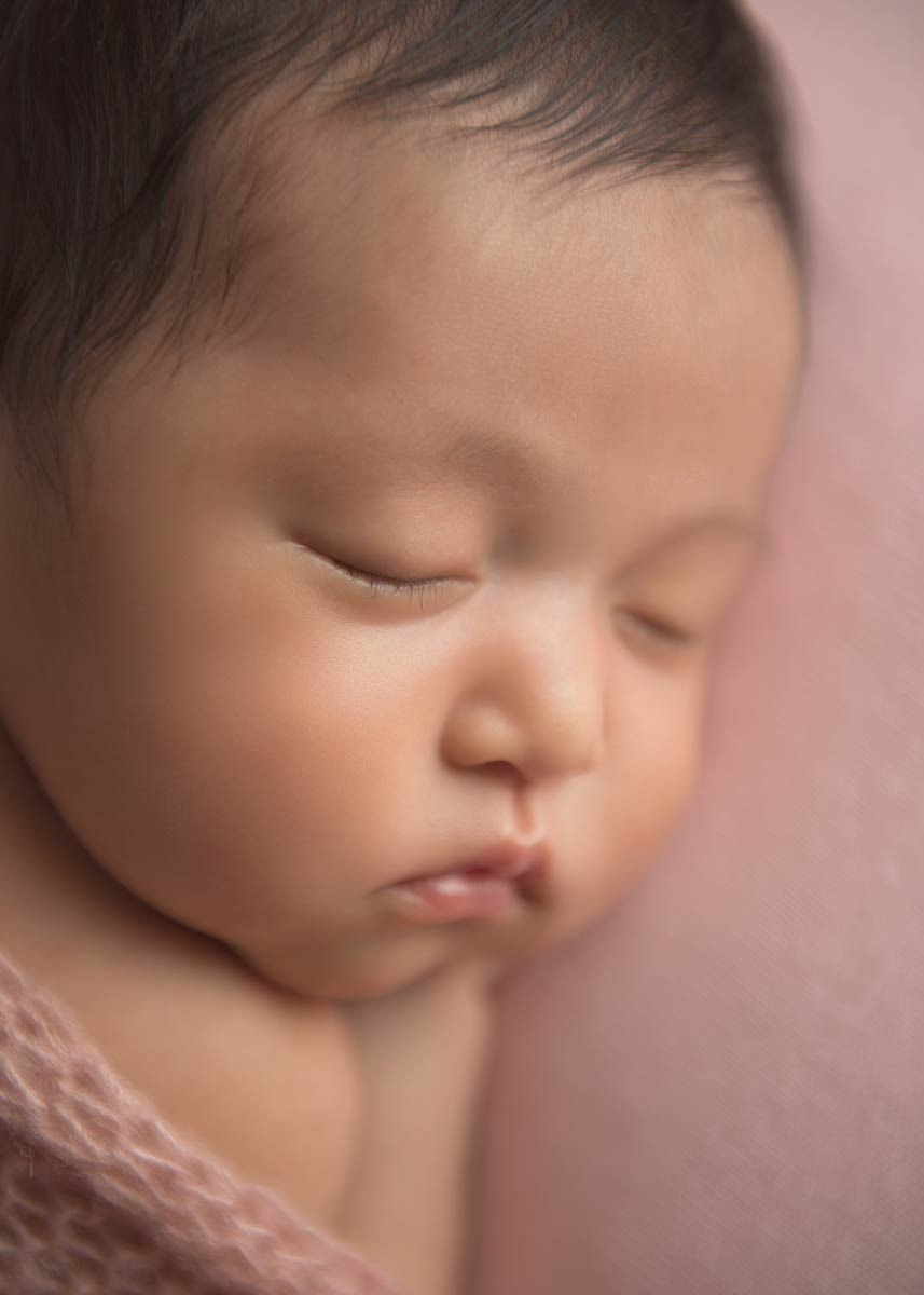 Closeup photo of a newborn face