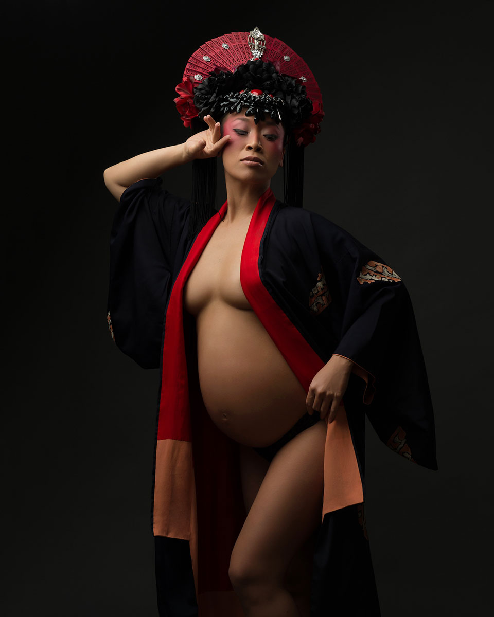 Pregnant model in traditional kimono