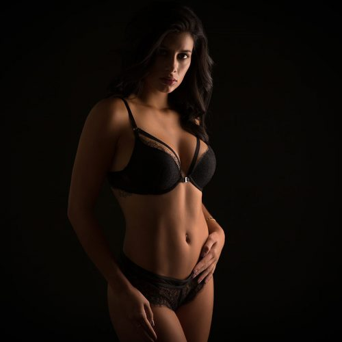 Woman in black lingerie
