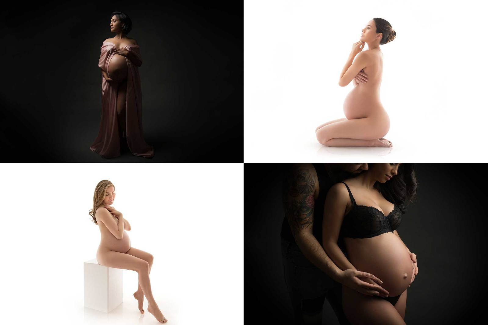 A collage of four pregnancy photos taken at our NYC maternity studio